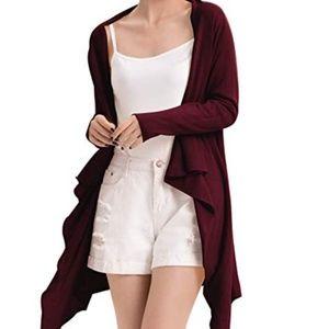 Sweaters - Long Open Front Drape Knit Cardigan XXL Wine Red
